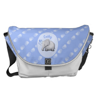 Personalized Whimsical New Mom's Hearts Elephants Courier Bag