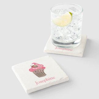 Personalized Whimsy Pink Cupcake coaster Stone Beverage Coaster