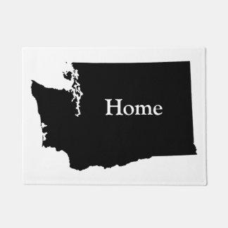 Personalized White and Black Washington Doormat
