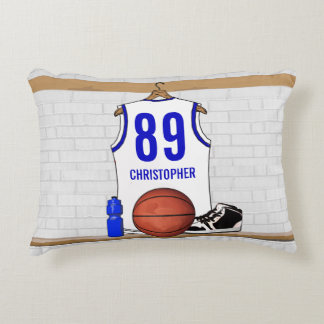 Personalized White and Blue Basketball Jersey Accent Pillow