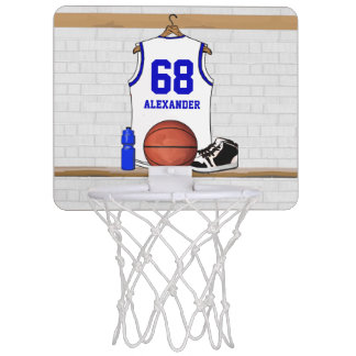 Personalized White and Blue Basketball Jersey Mini Basketball Hoop
