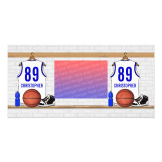 Personalized White and Blue Basketball Jersey Picture Card