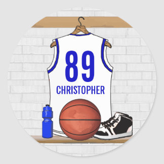 Personalized White and Blue Basketball Jersey Round Sticker