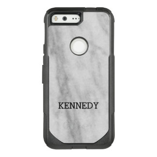 Personalized White and Grey Marble   Look OtterBox Commuter Google Pixel Case