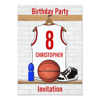 """Personalized White and Red Basketball Jersey 5"""" X 7"""" Invitation Card"""