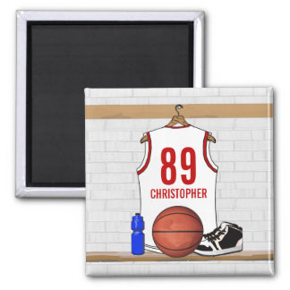 Personalized White and Red Basketball Jersey Square Magnet