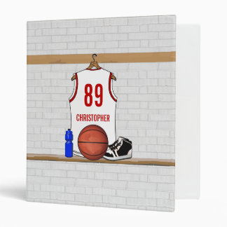 Personalized White and Red Basketball Jersey Vinyl Binder