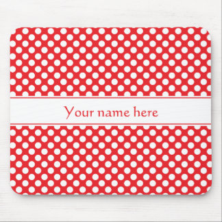 Personalized White and Red Polka Dot Mouse Pad
