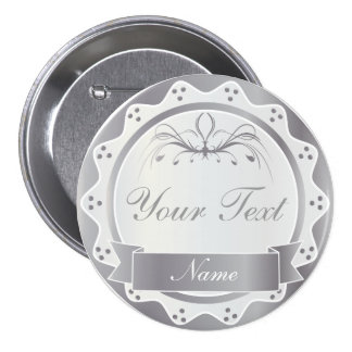 Personalized White and Silver Wedding Party 3 Inch Round Button