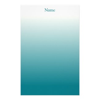 Personalized White and Teal Ombre Stationery