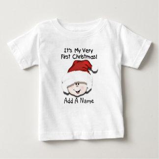Personalized White Baby 1st Christmas Tshirt