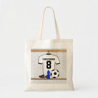 Personalized White Black Football Soccer Jersey Budget Tote Bag