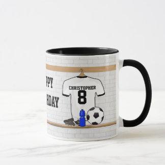 Personalized White Black Football Soccer Jersey Mug