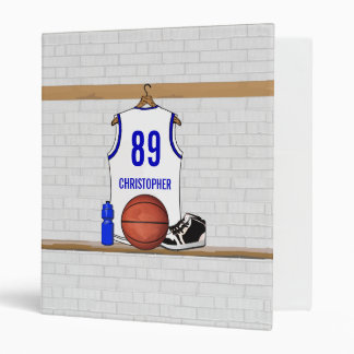 Personalized white Blue Basketball Jersey 3 Ring Binders