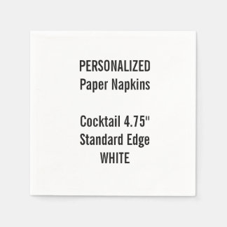 Personalized WHITE Cocktail Paper Napkins