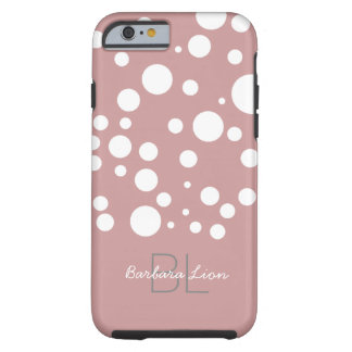 personalized white dots on pink tough iPhone 6 case