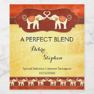 Personalized White Elephants Wedding Wine Label