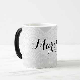 Personalized White Faux Lace Name Magic Mug