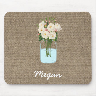 Personalized White Flower Mason Jar on Burlap Mouse Pad