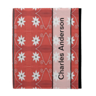 Personalized white flowers on red pattern iPad folio case