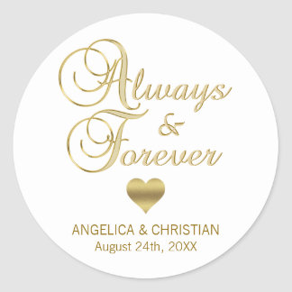 Personalized White Gold ALWAYS & FOREVER Wedding Classic Round Sticker