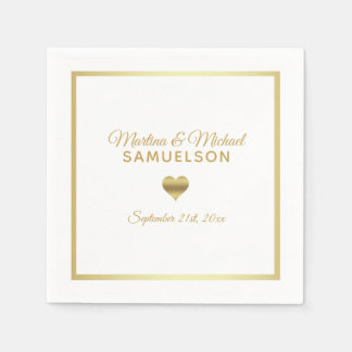Personalized White Gold Heart Frame Wedding Paper Napkin