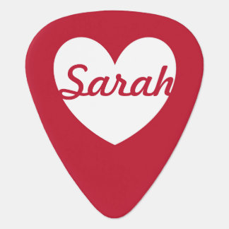 Personalized white heart on red guitar pick