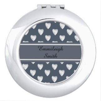 Personalized White Hearts on Navy Blue Compact Mirrors