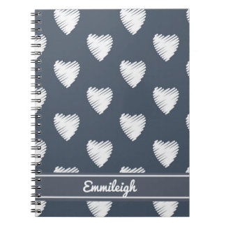 Personalized White Hearts on Navy Blue Notebooks