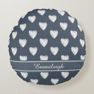 Personalized White Hearts on Navy Blue Round Pillow