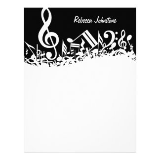 Personalized White Jumbled Musical Notes on Black Letterhead