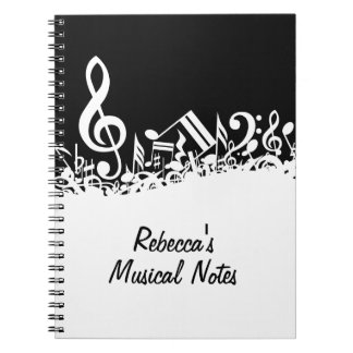 Personalized White Jumbled Musical Notes on Black Spiral Note Books