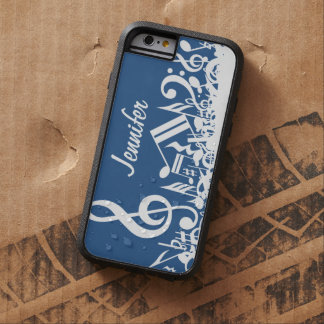 Personalized White Jumbled Musical Notes on Blue Tough Xtreme iPhone 6 Case