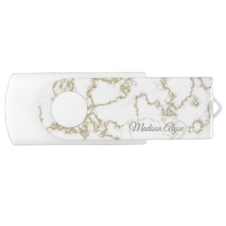 Personalized White Marble with Gold USB Flash Drive