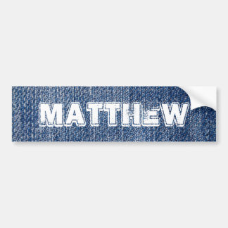 Personalized White Name Blue Jeans Bumper Sticker