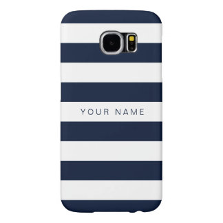 Personalized White & Navy Blue Striped Samsung Galaxy S6 Cases