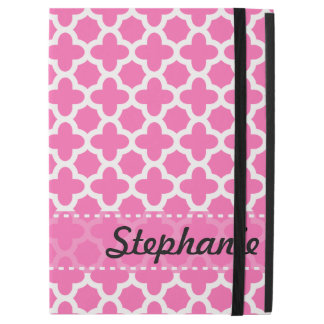 "Personalized White on Hot Pink Quatrefoil Pattern iPad Pro 12.9"" Case"