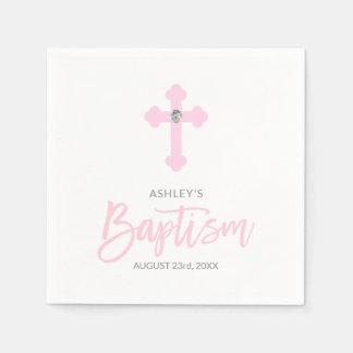 Personalized White Pink GIRL Cross BAPTISM Napkin