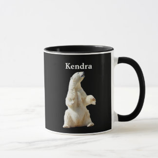 Personalized White Polar Bear On Black Mug