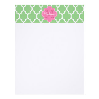 Personalized white quatrefoil monogram custom letterhead