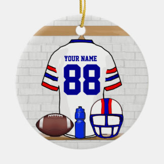 Personalized White Red Blue Football Jersey Ceramic Ornament