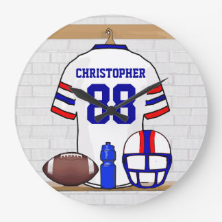 Personalized White Red Blue Football Jersey Wall Clocks