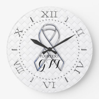 Personalized White Ribbon Awareness on a Large Clock