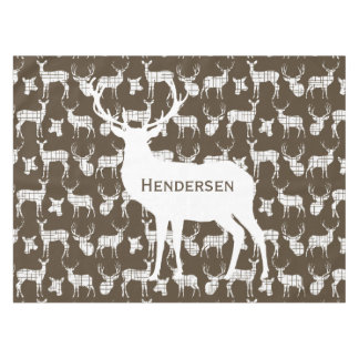 Personalized White Rustic Deer on Brown Tablecloth