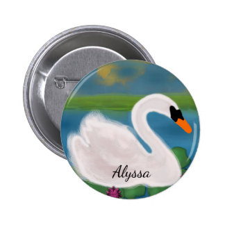 Personalized White Swan in Pond at Sunset Button