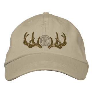 Personalized White Tail Deer Antlers Monogram Embroidered Hat