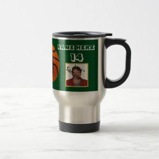 Personalized White Text basketball Photo Tumbler Travel Mug