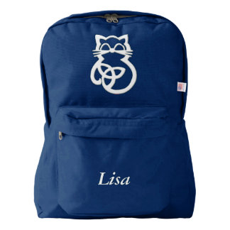Personalized White Trinity Knot Celtic Cat Backpac Backpack