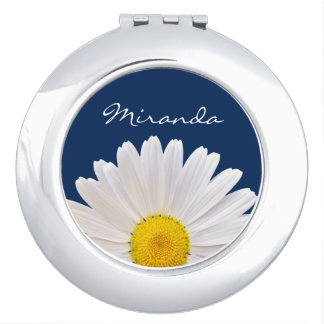 Personalized white yellow navy blue daisy flower compact mirror