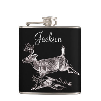 Personalized Whitetail Buck Leaping Hip Flask